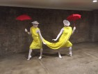Yellow fabric dancers